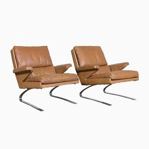 Swing Lounge Chairs with Cognac Leather Upholstery from Cor, Set of 2