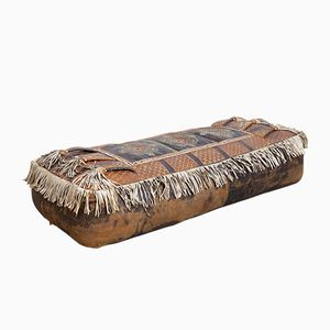 Leather Ottoman with Decorative Pattern