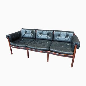 Rosewood & Leather Sofa by Arne Norell for Coja