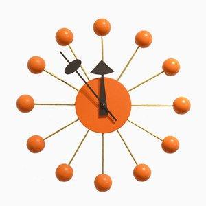 Orange Wood & Brass Ball Clock by George Nelson, 1980s