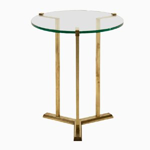 Brass and Glass Side Table by Peter Ghycz, 1970s