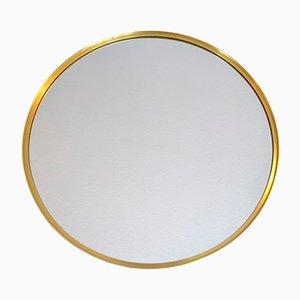 Round Swedish Brass Wall Mirror, 1960s
