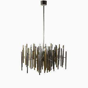 Vintage Italian Brass & Aluminium Hanging Lamp