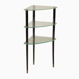 Italian Ebony Stained Wood, Brass, & Glass Corner Etagere, 1960s