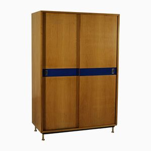 Italian Ash, Formica & Brass Wardrobe with Sliding Doors, 1950s