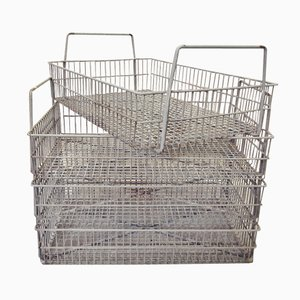 Industrial Stackable Metal Baskets, Set of 4