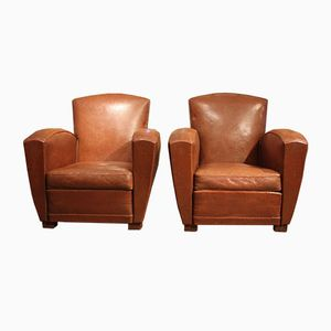 French Leather Armchairs, 1930s, Set of 2