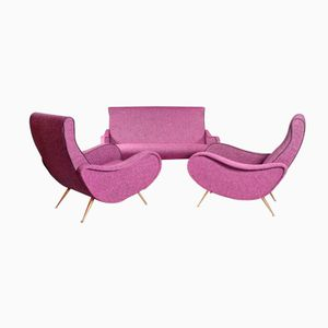 Purple/Pink Italian Living Room Set, 1950s