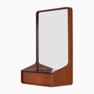 Euroika Teak & Black Glass Framed Mirror by Friso Kramer for Auping
