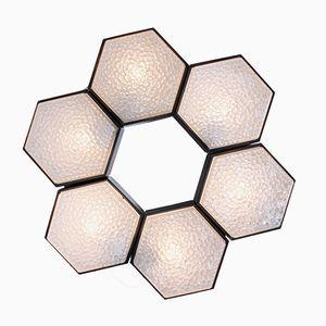 Sechseckige Metall & Glas Lampen mit Schwarzem Rand von Raak, 6er Set