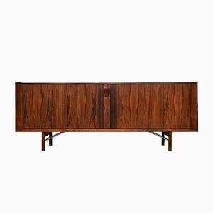 Danish Rosewood Veneer Credenza with Tambour Doors by Ib Kofod-Larsen