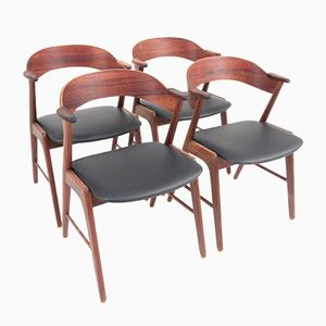 Rosewood Dining Chairs with Armrests by Kai Kristiansen for Korup Stolefabrik, Set of 4