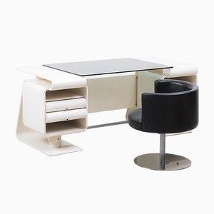 Italienischer Postmoderner Weißer Schreibtisch mit Stuhl, 1970er