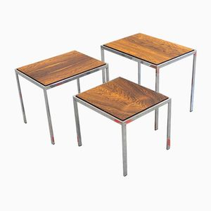 Vintage Rosewood Nesting Tables with Reversible Tops