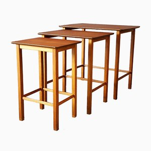 Danish Brown Teak Nesting Tables, 1960s