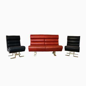 Französisches Skulpturelles Leder Lounge Set, 1970er