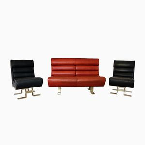 French Sculptural Leather Lounge Set, 1970s