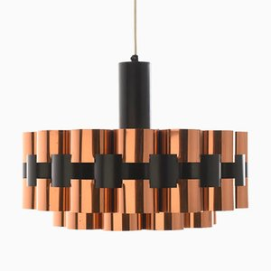 Danish Red Copper Pendant by Werner Schou for Coronell Elektro