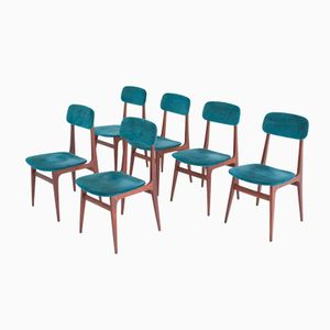 Italian Rosewood & Velvet Dining Chairs, 1950s, Set of 6