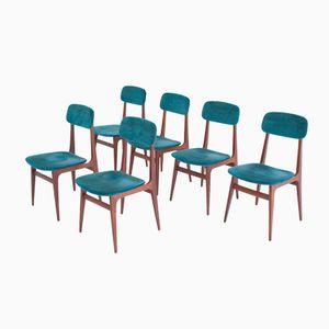 Italienische Esszimmerstühle aus Palisander & Samt, 1950er, 6er Set