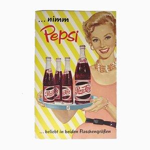 Affiche Publicitaire Vintage Pepsi Cola Pin Up, 1960s