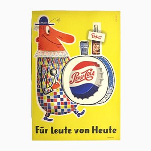 Lithographed Cardboard Pepsi Poster, 1960s