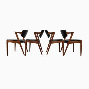 Model 42 Teak Dining Chairs by Kai Kristiansen for Schou Andersen, 1960s