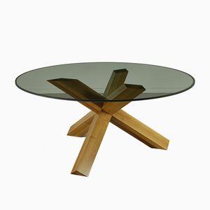 Vintage La Rotonda Table in Walnut & Crystal by Mario Bellini for Cassina
