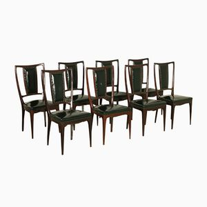 Italian Ebony Stained Wood Dining Chairs, 1950s, Set of 8