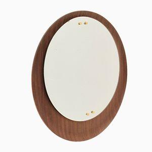 Runder Italienischer Spiegel mit Holzrahmen, 1960er