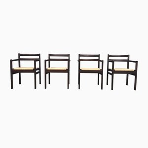 Danish Mid-Century Modern Oak & Paper Cord Armchairs by Erik Worts for FDB Møbler, 1970s, Set of 4