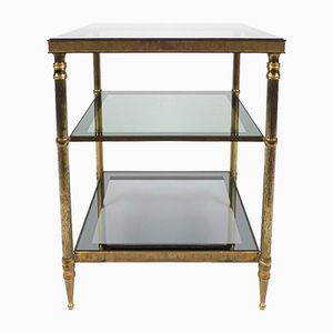 French Brass and Glass Side Table, 1960s