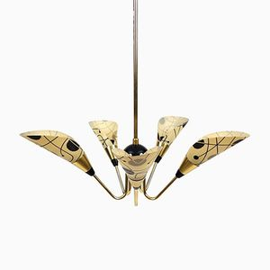 Mid-Century 5-Arm Bakelite and Brass Chandelier