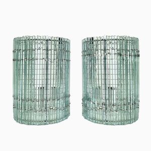 Vintage Glass Wall Lights, Set of 2