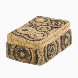 Modern Geometrical Patterns Straw Box, 1950s