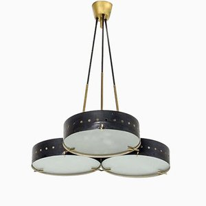 Metal and Satin Glass Chandelier from Stilnovo, 1950s
