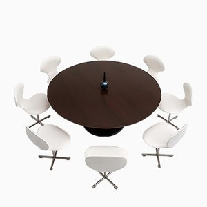Vintage Dining or Conference Table & Swivel Chairs by Alfred Hendrickx