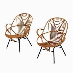 Mid-Century Rattan Side Chairs by Dirk Van Sliedregt, Set of 2