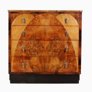 Vintage Art Deco Walnut Chest of Drawers