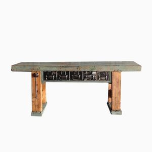 Vintage Industrial Workbench with Blue Patination
