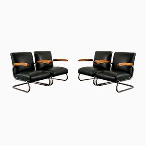 Vintage S411 Lounge Chairs from Thonet, Set of 4