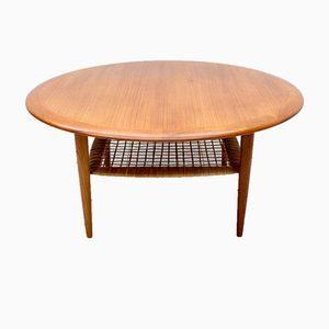 Teak & Rattan Coffee Table by Johannes Andersen for CFC Silkeborg, 1960s