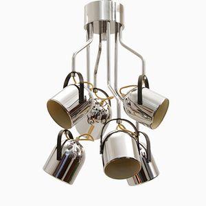 Italian Chromed Ceiling Lamp by Goffredo Reggiani for Reggiani, 1970s