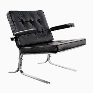 Mid-Century Steel & Black Leather Easy Chair
