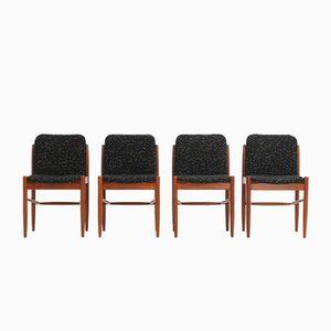 Danish Teak & Wool Dining Chairs, 1960s, Set of 4