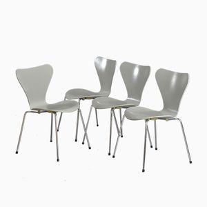 Graue 3107 Stühle von Arne Jacobsen für Fritz Hansen, 1988, 4er Set