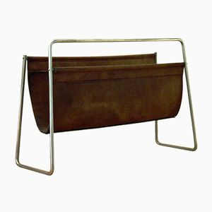 Austrian Leather Magazine Rack by Carl Auböck for Werkstätte Carl Auböck