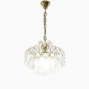 Vintage Brass & Glass Chandelier