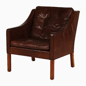 Danish 2207 Cognac Leather & Oak Chair by Børge Mogensen for Fredericia, 1970s