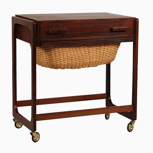 Danish Rosewood & Cane Sewing Table, 1960s